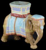 A Royal Worcester majolica glazed vase modelled as an elephant