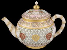 A Royal Worcester cabinet reticulated teapot, attr. to George Owen