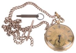 18ct gold open faced pocket watch, with 9ct rose gold watch chain(2)