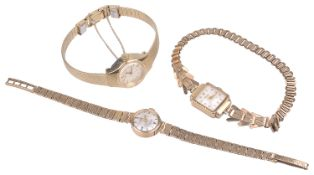 Two 9ct gold Rotary ladies wristwatches; Seiko gold plated watch(3)