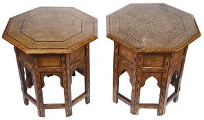 A pair of hardwood Moroccan inlaid occasional tables(2)