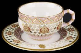 Royal Worcester cabinet cup and saucer attr. to George Owen
