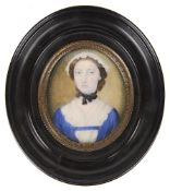 A 19th c. portrait miniature of a young girl