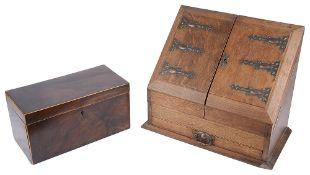 20th c. oak correspondence box and a 19th c. mahogany tea caddy (2)