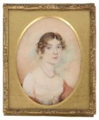 A 19th c. portrait miniature on ivory of Maria Lady Downes
