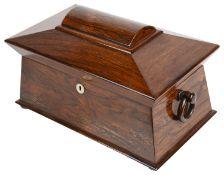 A Vict. rosewood tea caddy