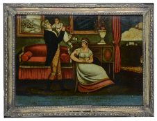 """""""Connubial Happiness"""" early 19th c. reverse print on glass"""