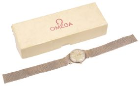 A 9ct gold Omega gentleman's wristwatch, with mesh bracelet