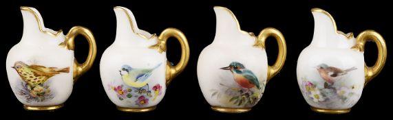 Four Royal Worcester blush ivory miniature ewers(4)