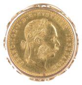 An Austrian gold ducat coin in gold ring mount