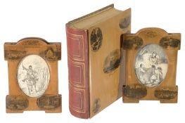 Two Mauchline ware photo frames;Mauchline ware photograph album (3)
