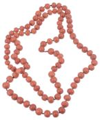 A natural red coral bead necklace