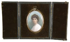 An Edwardian portrait miniature on ivory of a lady