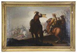 Follower of Palamedes late 17th c. 'Battlescene' oil on canvas, framed