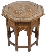 A Moroccan inlaid hardwood occasional table, 20th c.