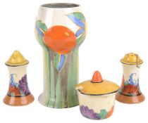 A collection of Clarice Cliff Bizarre cruets and vase(4)