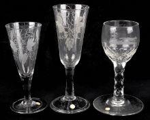 A plain stem ale glass, mid 18th century