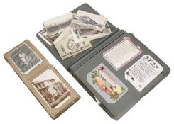 Two Edwardian postcard albums and a quantity of loose cards (qty)