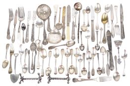 A collection of Victorian and later silver flatware