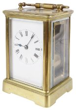 Lot 33 - A four glass brass striking carriage clock, 20th century