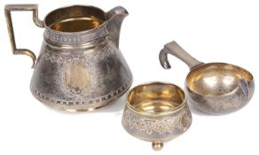 A Russian silver jug and bowl with Russian silver kovsh