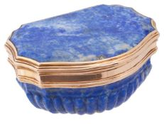 A 19th century French 18ct gold mounted carved lapis lazuli snuff box