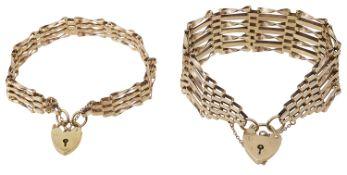 Two 9ct gold gate link bracelets