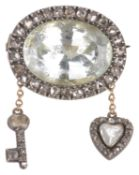A Charming Georgian rose diamond set heart and key love token brooch