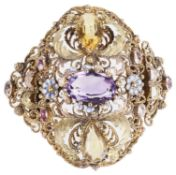 An attractive early 19th c. cannetille work, gem set brooch