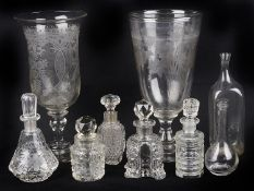 An acid etched clear glass celery vase, 19th century