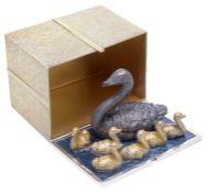 "Stuart Leslie Devlin """"Seven Swans a-swimming"""" Twelve Days of Christmas Surprise silver box"