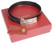 Cartier Panther motif leather belt, with red Cartier box