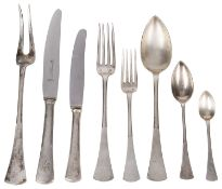 An extensive suite of Austrian silver flatware, late 19th/early 20th century