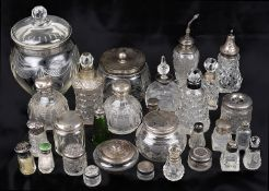 A collection of Victorian & later silver collared & topped scent bottles, cruet bottles & power jars