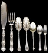 A small selection of Georgian and later silver flatware