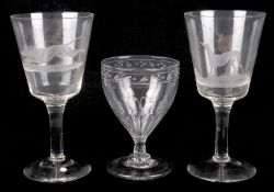 A pair of engraved hunting interest oversize wine glasses, early 19th century
