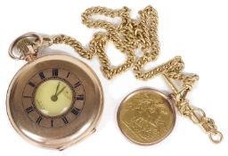 A 9ct rose gold Waltham half hunter pocket watch, 18ct watch chain, Victoria 1887 double sovereign