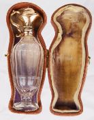 A Dutch glass and 14k gold mounted scent bottle with original fitted box, late 19th century