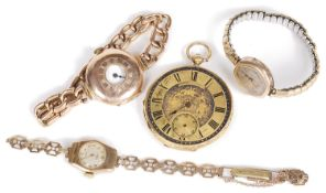 Three 9ct gold wristwatches and a 18k gold open faced pocket watch
