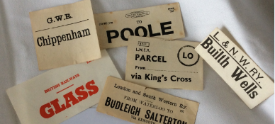 A small collection of vintage Railway paper luggage labels