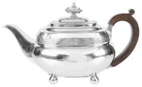 A George III silver teapot, hallmarked London 1810