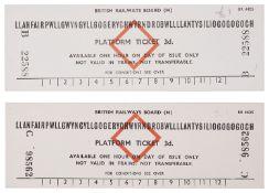 Two 1960s train platform tickets for Llanfairpwll, Wales