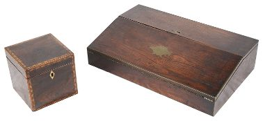 A Victorian rosewood brass inlaid writing slope