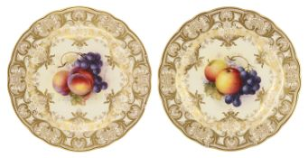 A pair of Royal Worcester porcelain cabinet plates, circa 1926