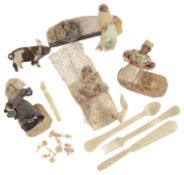 An interesting collection of 19th century P.O.W. miniature bone carvings