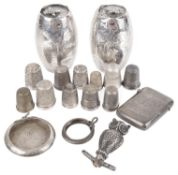 A collection of Victorian and later silver thimbles and other silver trinkets