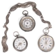 Three silver open faced pocket watches