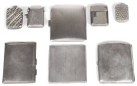 A collection of Edwardian and later silver and silver plated cigarette cases and vesta cases