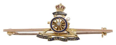 A 15ct gold Royal Artillery enamelled sweetheart brooch
