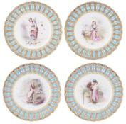 A set of four Mintons porcelain plates, 1880s